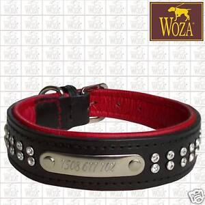 Premium Windspiel Halsband Handgraveur Vollleder WOZA Swarovski Rindnappa W21340