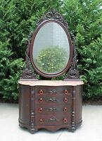 Early Victorian Walnut Serpentine Front Marble Top Dresser Sea Serpents c1860