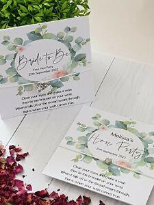 🖤 Eucalyptus Wreath - Hen Party-Wedding -Favour -Gifts- Wish Bracelet 🖤