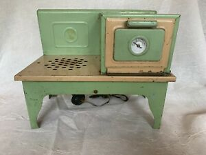 Vintage Childs Electric Stove  #406  Doll Toy  Green & Cream Kingston Products