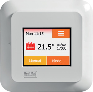 HeatMat NGTouch Touchscreen Underfloor Heating Thermostat White Black Silver