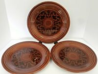 Sheffield Amberstone Dinner Plates Brown 10 1/4 Inches 1967 Grooved Rim-Lot of 3