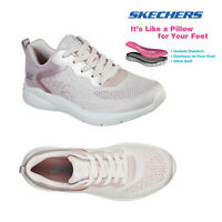 Skechers Womens Ariana Metro Racket Lace Up Memory Foam Metallic Blush Trainers