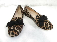 CHRISTIAN LOUBOUTIN LEOPARD PONY HAIR FLATS LOAFERS FRONT BOW SZ 38.5