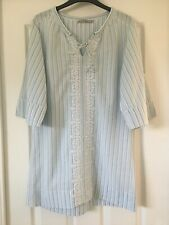 Kookai Smock Tunic Boohoo Style Top Size 36 Embroidery Detail Blue and White