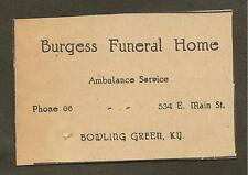 VINTAGE AD CLIPPED FROM NEWSPAPER - BURGESS FUNERAL HOME BOWLING GREEN, KY -1939