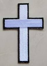 White Cross Crucified Biker Motorcycles Jackets Jeans Embroidered Iron on Patch