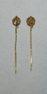 PAIRE D' EPINGLES A CHAPEAU / cravate  OR  18 carats ANCIENNE  19ème siècle