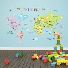 World Map Wall Stickers Children Educational Bedroom Playroom Fun Learning