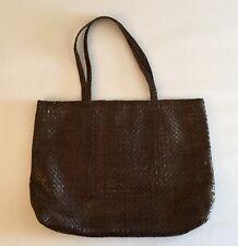 Helen Kaminski Metallic Chocolate Brown  Woven Leather Large Tote Handbag