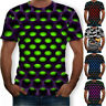 Funny Hypnosis 3D T-Shirt Men  Colorful Print Casual Short Sleeve Tee Tops