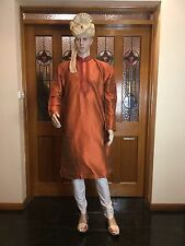 "38"" S Silk Sherwani Suit Indian Bollywood Mens Kurta Rusty Orange Kurtha KT14"