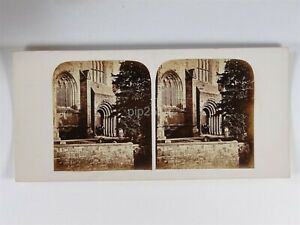 West Door Of Dunfermline Abbey - Stereoview c1850s