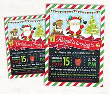 Christmas Invitations Birthday Party Invite Santa Claus Snowflake Winter Card