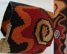 1 Drop Even Peyote Bead Pattern - Abstract Petroglyph Cuff Bracelet