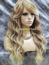 Long Wavy Layered Bangs Medium Blonde Mix Full Synthetic Wig Hair Piece #T27.613