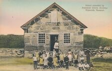 PLYMOUTH VT – School Attended by President Calvin Coolidge–Hand Colored Postcard