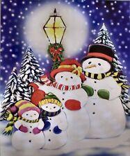 "Snowman Family Throw Blanket 50"" x 60"" Christmas Holiday Fleece Blanket"