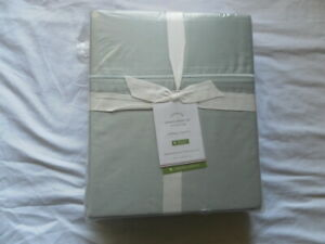 NEW AUTH POTTERY BARN SATEEN CAL KING SHRRT SET 350 THREAD COUNT SILVER GREEN