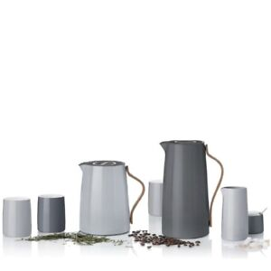 STELTON EMMA-SERIE GRAU, Kaffee-Tee-Isolierkanne, Becher, Tasse, sofort, NEU,OVP