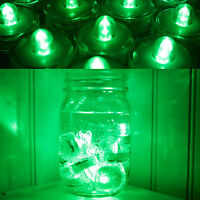 US Shipper ~ 12 Green LED Submersible Underwater Tea lights TeaLight Flameless