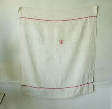 Small Tablecloth Antique French Linen Red Striped Monogrammed Vandage Cloth