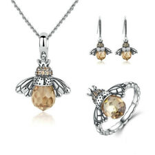 Bee Pendant Necklace Silver Ring Studs Earrings Charm Bracelet Jewelry Set