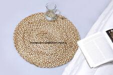 Fiera Trade Iuta E Cotone Intrecciato Naturale Rotondo Indiano Tappeto 60 CM