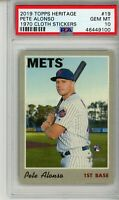 2019 Topps Heritage 1970 Cloth Sticker Pete Alonso #519 PSA 10 RC Rookie