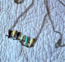 LONG CHAIN ENAMELLED BIRD NECKLACE VERY PRETTY EX CONDITION STAINLESS STEEL