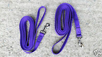 PAIR of 12ft CUSHION WEB LONG REINS, LINES 25mm wide (1in)  Lots of col