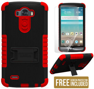 RED BLACK TRI-SHIELD SOFT SKIN HARD CASE STAND SCREEN PROTECTOR FOR LG G3 PHONE