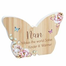 Butterfly Plaque / Sign Gift - Vintage Floral design - Wooden - Nan