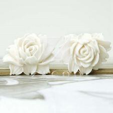 2 Resin Flatback Cabochons Cameo Flower Embellishments 46x36x18mm Ivory White BW