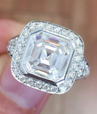 Moissanite Engagement Ring 14k White Gold 3.60 Ct Asscher Brilliant Forever Def