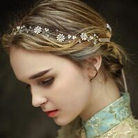 Bridal Rhinestone Crystal Pearl Wedding Hair Band Vintage Headband Tiara &Ribbon