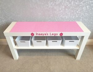 LEGO Table All Pink Base Plates Organised Storage Play Set Up Personalised