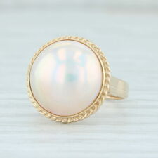 Cultured Mabe Pearl Ring 14k Yellow Gold Size 4.75 Round Solitaire
