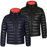 MEN QUILTED HOODED JACKET PADDED BUBBLE PUFFER PUFFA WARM BOMBER COAT