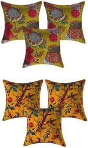 Indian Cotton Cushion Cover Handmade Pillow Case Kantha Work Set Of 6 Decorative