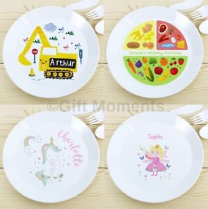 Personalised Childrens Dinner Plates - Shatter Proof - Boys and Girls - Add Name