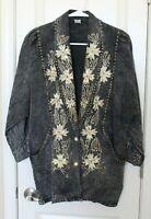 Vintage 80's Sequin Embroidered Studded Acid Wash Denim Jacket Oversize Sz Small