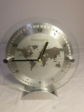 GreenWich Mean Time Clock by Sharper Image Brushed Aluminum