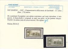 SAN MARINO 1932 GARIBALDI 5 LIRE CERT.BIONDI GOMMA INTEGRA LUSSO