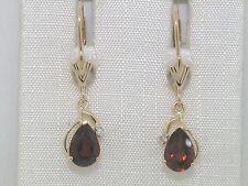 Granat Ohrhänger 585 Gelbgold 14Kt Gold natürlicher Granat und Brillanten