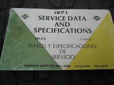 Nissan Datsun 71 Trucks; Patrol, Carrier, 521, 1200 Factory Service Data Booklet