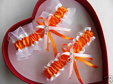 Double Heart Orange / White Wedding Garters - Prom
