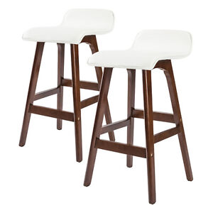 2 x Oak Wood Bar Stool Wooden Barstool Dining Chair Kitchen Cafe SOPHIA WHITE