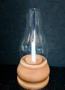 "Vintage Handmade Wooden Candle / Tea Light Holder With Glass Chimney, 8.5"" high"