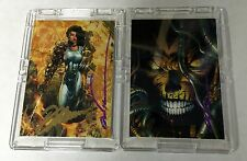 MARC SYLVESTRI SIGNED TALES OF WITCHBLADE & MARC SYLVESTRI & DAVID FINCH CARDS